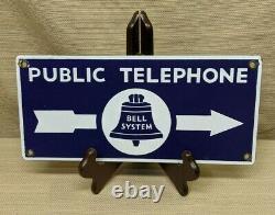 Vintage Original Public Telephone Bell System Double Sided Porcelaine Panneau Bleu