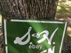 Vintage Original S&h Timbres Verts Porcelaine Panneau Double Face. Enregistrer Pendant Que Vous Passez