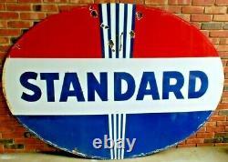 Vintage Original Standard Oil Co Double Sided 7 Ft Gas Station Plaque De Porcelaine
