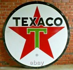 Vintage Original Texaco Double Sided 6 Ft. Plaque De La Station-service De Porcelaine Très Bon