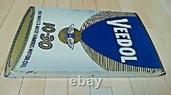 Vintage Original Veedol Flying A Motor Oil Double Sided Porcelain Flange Signe
