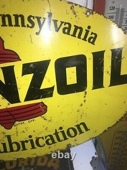 Vintage Pennzoil Motor Oil Sign Double Sided 18x 31. 1969