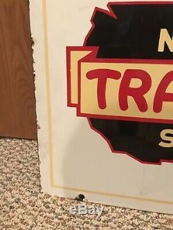 Vintage Porcelain Double Face Trailways Bus Stop Rare Signe D'origine Ancienne Auto