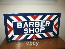 Vintage Porcelain Double Sided Flange Barber Shop Sign Par William Marvy