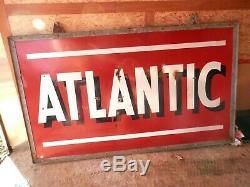 Vintage Porcelain Grande Double Face Atlantic Station Gas Signe Withframe43 X 72