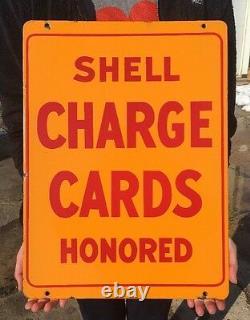 Vintage Porcelain Shell Charge Card Crédit Honoré Signe Double Sided Gas Pump