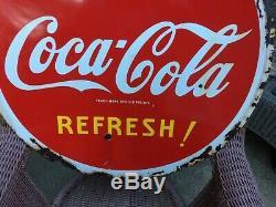 Vintage Porcelaine Double Face 29 1/2 Pouces Ronde Coca Cola Signe 1941 En Date