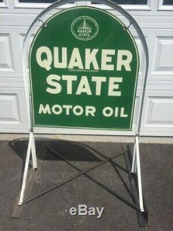 Vintage Quaker State Épais Métal Tombstone Signe Double Face Avec Support Original