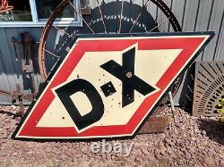 Vintage Rare Original D-x Diamond Huile De Moteur 8 Pieds Porcelaine Panneau Double Face