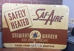 Vintage Rare Stewart Warner Gaz Maison Chauffage Garage Double-side Signe