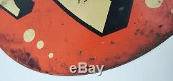 Vintage Réel 7up Vendu ICI Peint Tin Double Face Rond Signe 8 Bulles 14 Pouces