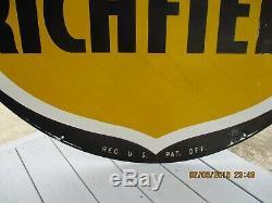 Vintage Richfield Double Face 58 1/2 Pouces Signe De Marchands De Gaz Et D'huile De Porcelaine