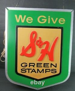 Vintage S & H Green Stamps Light Up Inscrivez Les Travaux Dual-sided Ca1960! 14x18