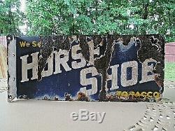 Vintage Sell We Horseshoe Tabac Porcelaine Double Signe Flanged Face 8 X 18