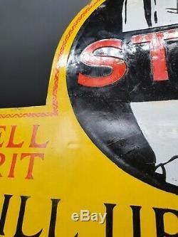 Vintage Shell Arrêtez-vous ICI À Double Face Émail Signe Automobilia Huile Moteur Essence