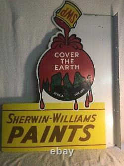 Vintage Sherwin Williams Cover The Earth Porcelaine Double Face Signe Flange