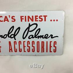 Vintage Signé Arnold Palmer Ajay Golf 20x6 3/4 En Métal Double Face Et Cadre