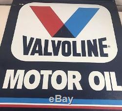 Vintage Signe De Service Suspendu Métal Huile Moteur Vintage Valvoline 32x28 Rare
