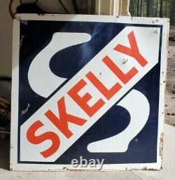 Vintage Skelly Gas Station Porcelaine Panneau Publicitaire Double Côté 48 Très Nice