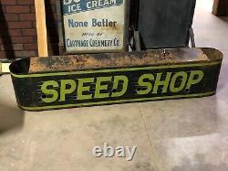 Vintage Speed Shop Double Face Enseignes Lumineuses Antique Patine Mancave Hot Rod Garage