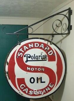 Vintage Standard Oil De 1920 Polarine Porcelaine 30 Inscription Double Face