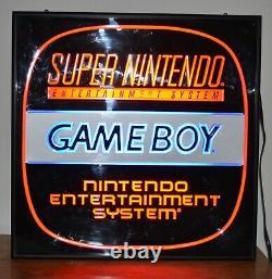 Vintage Super Nintendo Gameboy Nes Lumineux Panneau Double Face 80's 90's Store 2x2