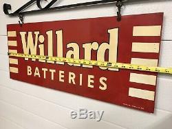 Vintage Suspendus Willard Piles Signe Double Face Avec Support (non Porcelaine)