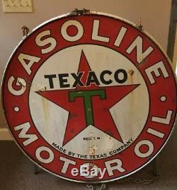 Vintage Texaco Double Face Signons Avec Cintre Original Rim 42