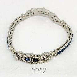 Vintage Trifari Art Déco Double Sided Bracelet W Sapphire Colored Stones Signé