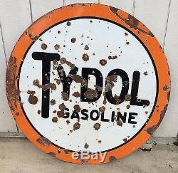 Vintage Tydol Porcelain Gasoline Sign 42in Double Côté