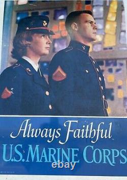 Vintage Us Marines Corp Toujours Faithfu 1967 Recrutement Panneau Métal Double Face