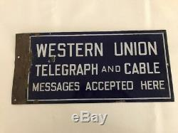 Vintage Western Union Porcelain Signe Double Face