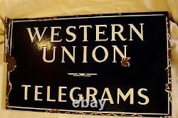Vintage Western Union Telegrams Signe De Porcelaine Flange 17x10 Double Sided