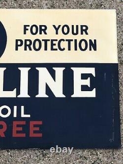 Vtg 1935 Havoline Motor Oil Rack Sign Tin Double Sided Dst 21.25 Huile De Gaz Texaco