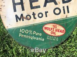 Vtg 1941 Wolfs Head Huile Moteur Signe Métal Peint 30 Rare Double Face