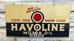 Vtg 1947 Havoline Huile Moteur Signe Tin Double Face Dst 21.5x11.25 Texaco Gaz