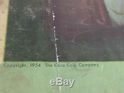 Vtg 1954 Coke Time Signe Affiche Pour Kay Frame Double Face Litho 27x56