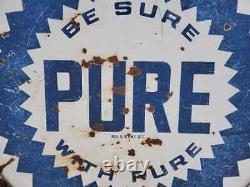 Vtg Années 1940 Assurez-vous Avec Pure Oil Gas Station Double Sided Porcelaine Signe 5' Pieds