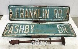 Vtg Antique Double Face Coin De Rue Signalisation Routière Franklin & Ashby Brentwood, Tn