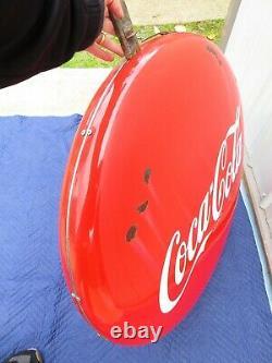 Vtg Double Sided Coca Cola 36 Bouton Porcelaine Soda Signe Lollipop Hanging Dot