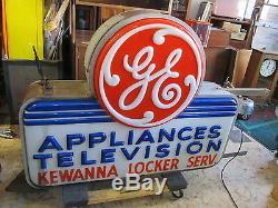 Vtg. General Electric Ge Appliances - Enseigne Lumineuse Double Face Pour Télévision Extérieure
