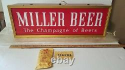 Vtg Miller High Life Bière Signe Le Champagne Des Bois Double Sided New Old Stock