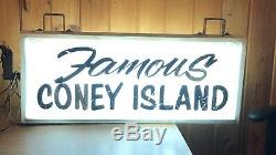 Vtg Ooak 1940 Famous Coney Island Lighted Signe Double Face Support En Acier Wow