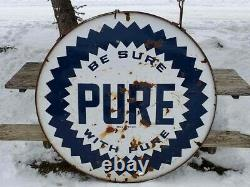 Vtg Pure Oil Gas Station Publicité Dsp Double Sided Porcelain Sign In Ring 60
