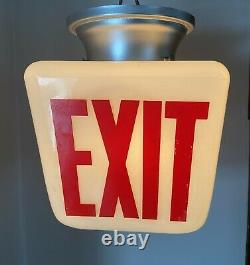 Vtg White Double Sided Exit Light Sign Fixture Cinéma Movie Theater 1950