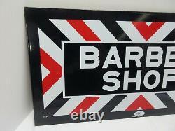 Vtg. William Marvy Barber Shop Porcelaine À Double Face Plaquette Tout L'original