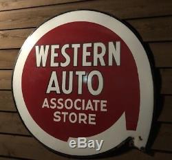 Western Auto Associate Store Enseigne En Porcelaine Double Face 53 Original