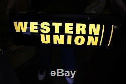 Western Union Double Face Éclairé Signe 25 '' X 9 '' X 6'