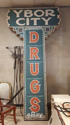 Ybor City Drugs Marque Signe 10' Double Face Illumine De Film En Direct By Night
